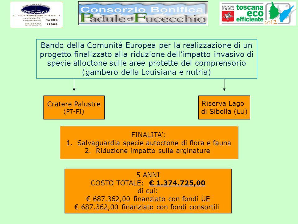 Bando della Comunità Europea per la realizzazione di un progetto finalizzato alla riduzione dellimpatto invasivo di specie alloctone sulle aree protet
