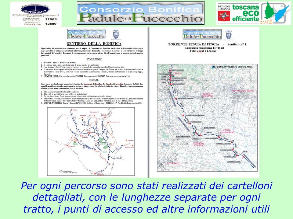 Per ogni percorso sono stati realizzati dei cartelloni dettagliati, con le lunghezze separate per ogni tratto, i punti di accesso ed altre informazion