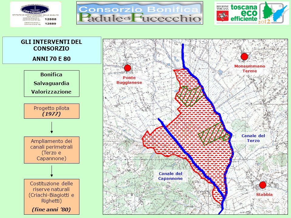 Progetto pilota (1977) Ampliamento dei canali perimetrali (Terzo e Capannone) Bonifica Salvaguardia Valorizzazione Costituzione delle riserve naturali