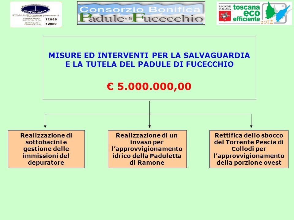 MISURE ED INTERVENTI PER LA SALVAGUARDIA E LA TUTELA DEL PADULE DI FUCECCHIO 5.000.000,00 Realizzazione di sottobacini e gestione delle immissioni del