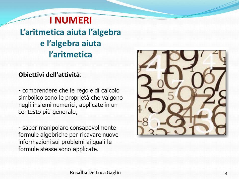 I NUMERI Laritmetica aiuta lalgebra e lalgebra aiuta laritmetica Obiettivi dell'attività: - comprendere che le regole di calcolo simbolico sono le pro