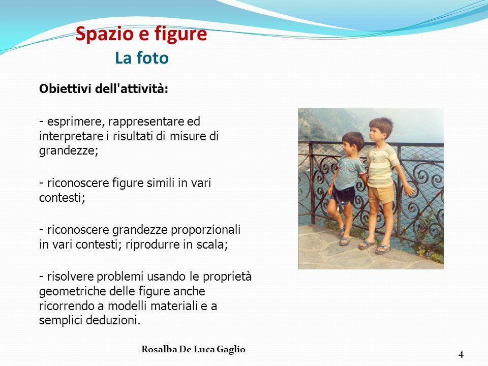 Spazio e figure La foto Obiettivi dell'attività: - esprimere, rappresentare ed interpretare i risultati di misure di grandezze; - riconoscere figure s