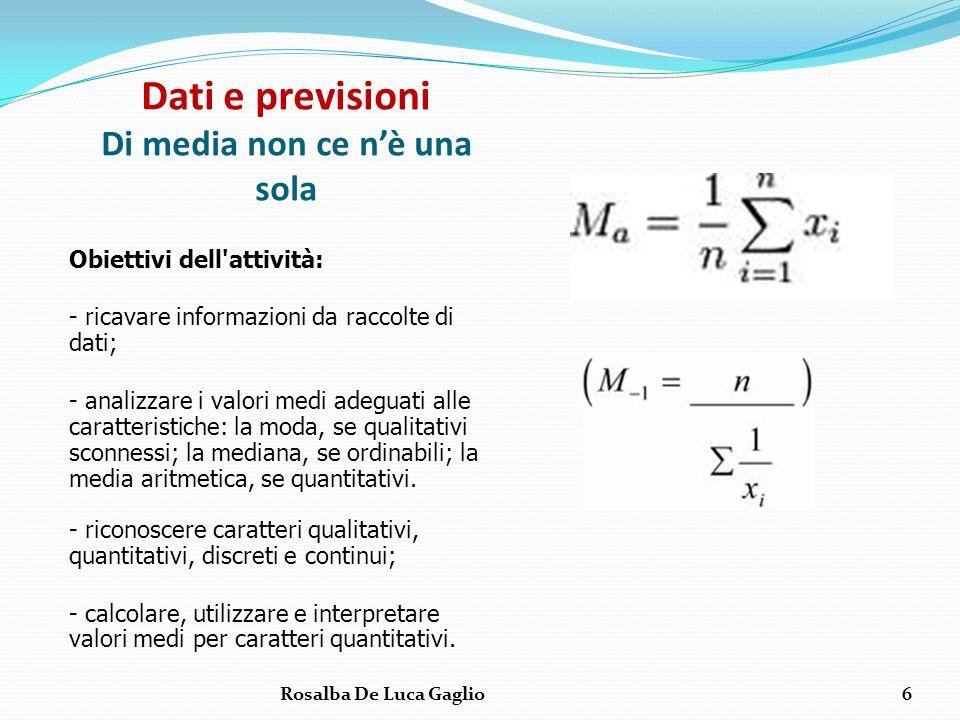 Dati e previsioni Di media non ce nè una sola Obiettivi dell'attività: - ricavare informazioni da raccolte di dati; - analizzare i valori medi adeguat
