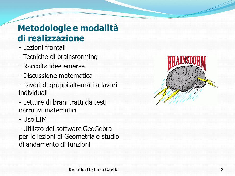 Metodologie e modalità di realizzazione - Lezioni frontali - Tecniche di brainstorming - Raccolta idee emerse - Discussione matematica - Lavori di gru