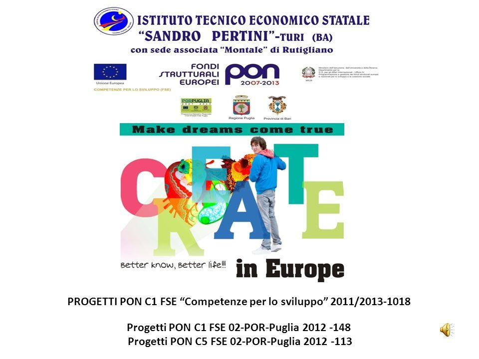 PROGETTI PON C1 FSE Competenze per lo sviluppo 2011/2013-1018 Progetti PON C1 FSE 02-POR-Puglia 2012 -148 Progetti PON C5 FSE 02-POR-Puglia 2012 -113