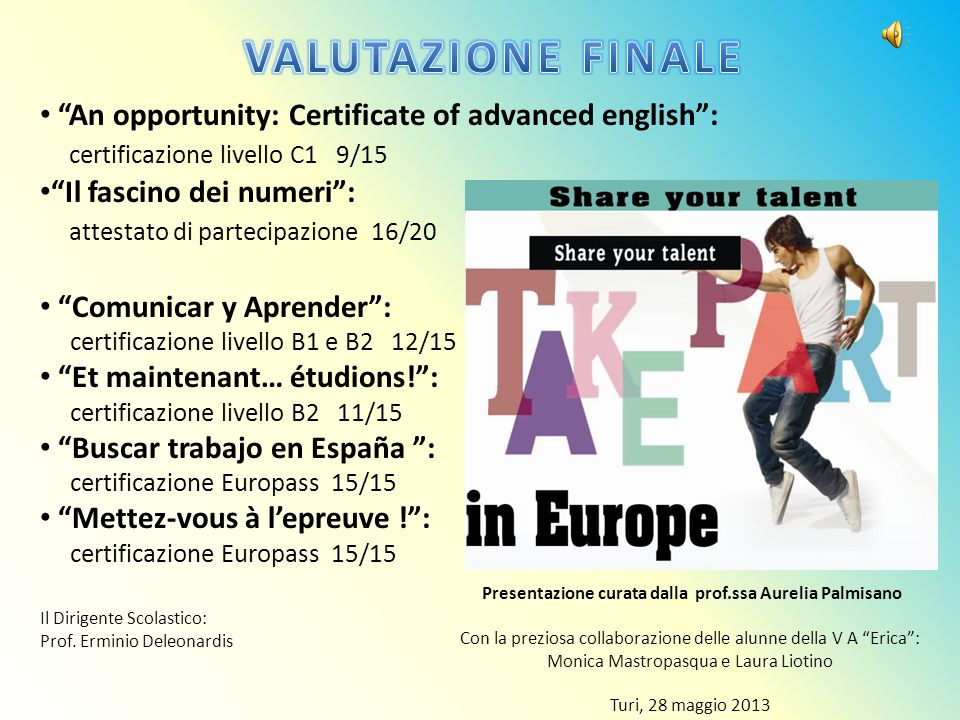 An opportunity: Certificate of advanced english: certificazione livello C1 9/15 Il fascino dei numeri: attestato di partecipazione 16/20 Comunicar y A