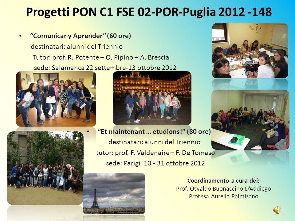 Progetti PON C1 FSE 02-POR-Puglia 2012 -148 Comunicar y Aprender (60 ore) destinatari: alunni del Triennio Tutor: prof. R. Potente – O. Pipino – A. Br