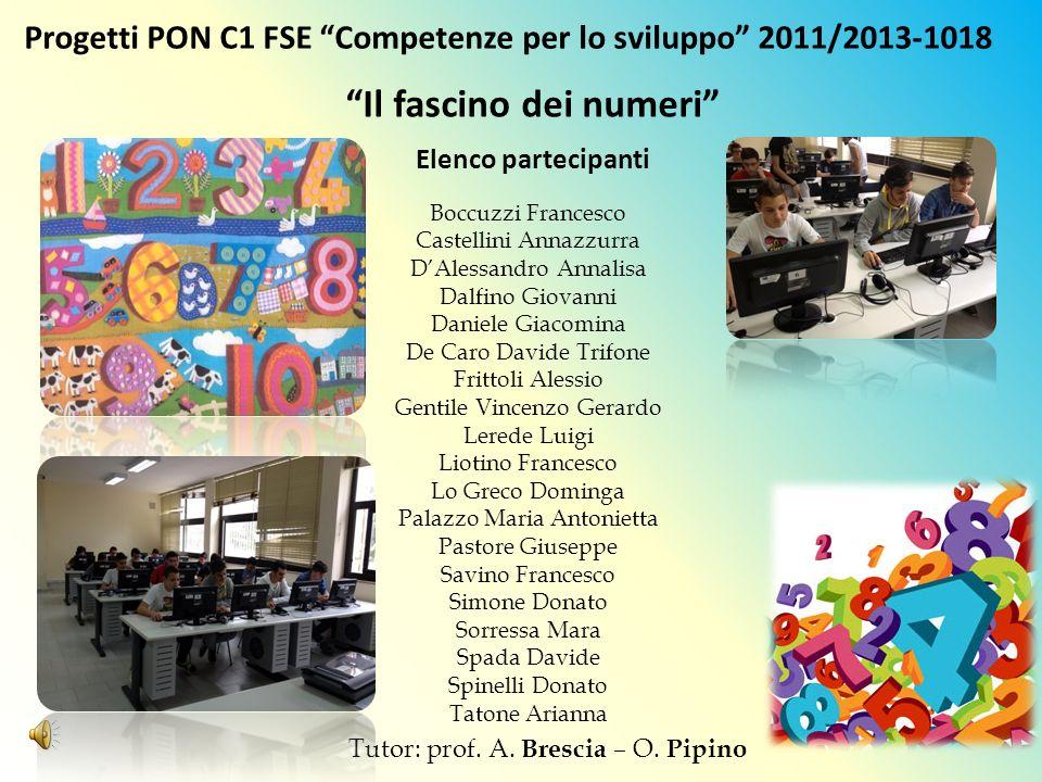Progetti PON C1 FSE Competenze per lo sviluppo 2011/2013-1018 Il fascino dei numeri Elenco partecipanti Boccuzzi Francesco Castellini Annazzurra DAles