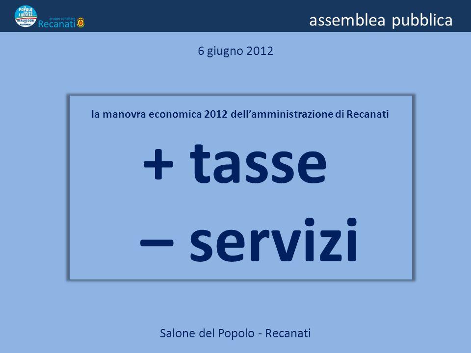 assemblea pubblica 6 giugno 2012 la manovra economica 2012 dellamministrazione di Recanati + tasse – servizi Salone del Popolo - Recanati