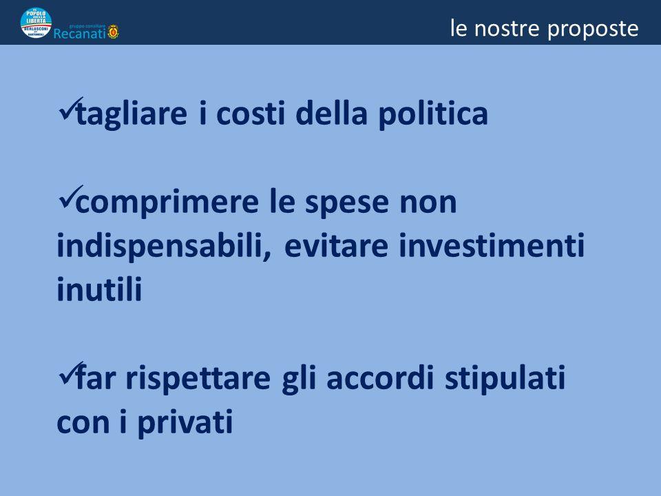 le nostre proposte tagliare i costi della politica comprimere le spese non indispensabili, evitare investimenti inutili far rispettare gli accordi stipulati con i privati