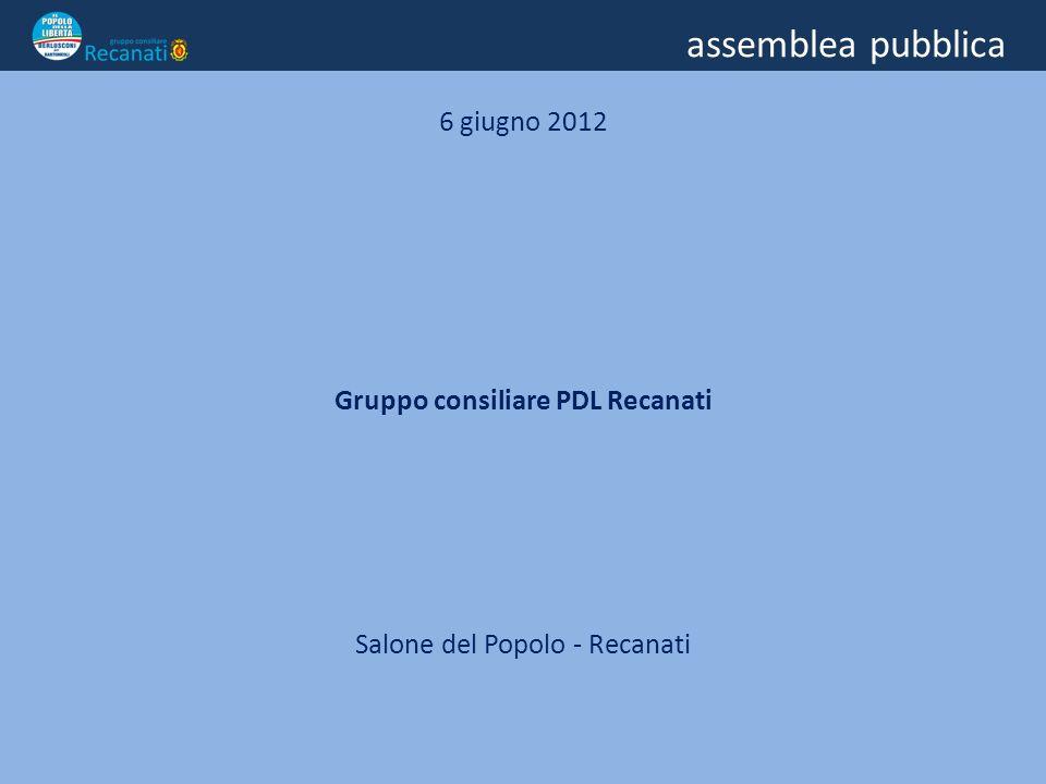 assemblea pubblica 6 giugno 2012 Gruppo consiliare PDL Recanati Salone del Popolo - Recanati
