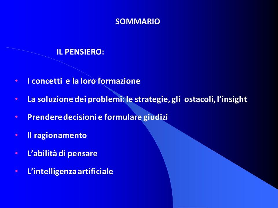 SOMMARIO IL PENSIERO: I concetti e la loro formazione La soluzione dei problemi: le strategie, gli ostacoli, linsight Prendere decisioni e formulare g