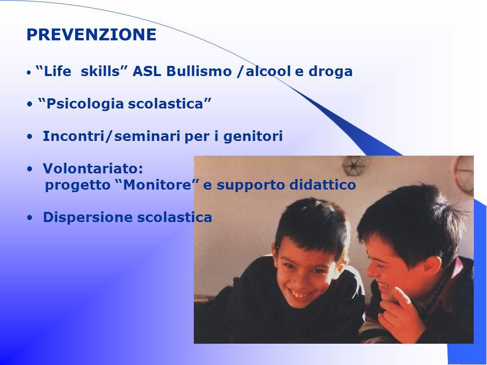PREVENZIONE Life skills ASL Bullismo /alcool e droga Psicologia scolastica Incontri/seminari per i genitori Volontariato: progetto Monitore e supporto didattico Dispersione scolastica