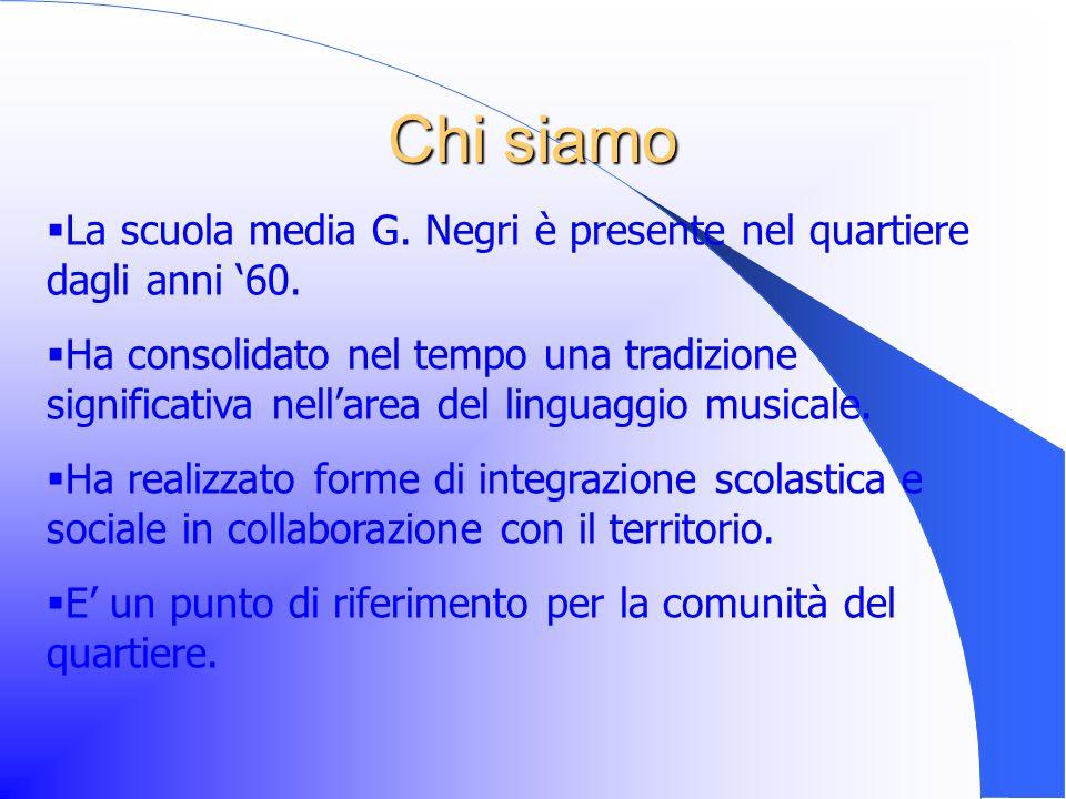 Chi siamo La scuola media G.Negri è presente nel quartiere dagli anni 60.
