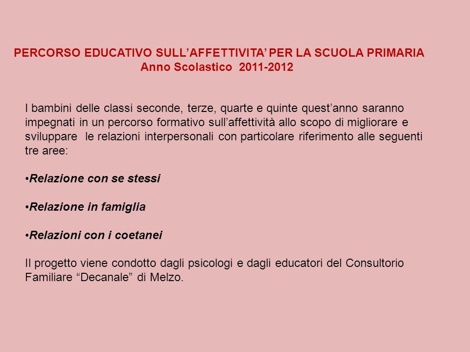 PERCORSO EDUCATIVO SULLAFFETTIVITA PER LA SCUOLA PRIMARIA Anno Scolastico 2011-2012 I bambini delle classi seconde, terze, quarte e quinte questanno s