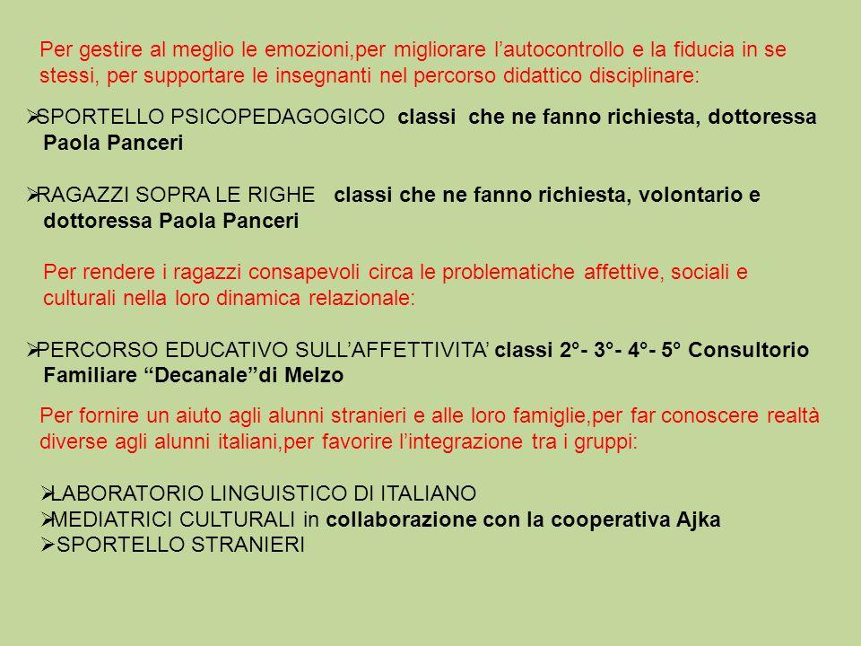 Per fornire un aiuto agli alunni stranieri e alle loro famiglie,per far conoscere realtà diverse agli alunni italiani,per favorire lintegrazione tra i