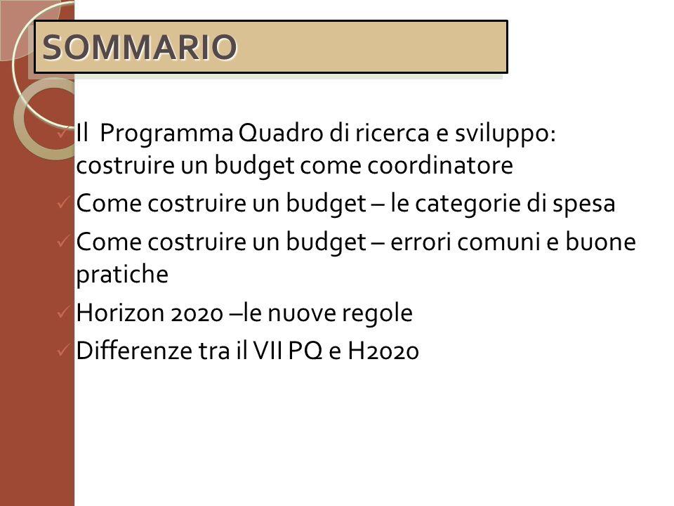 Il Programma Quadro di ricerca e sviluppo: costruire un budget come coordinatore Come costruire un budget – le categorie di spesa Come costruire un bu