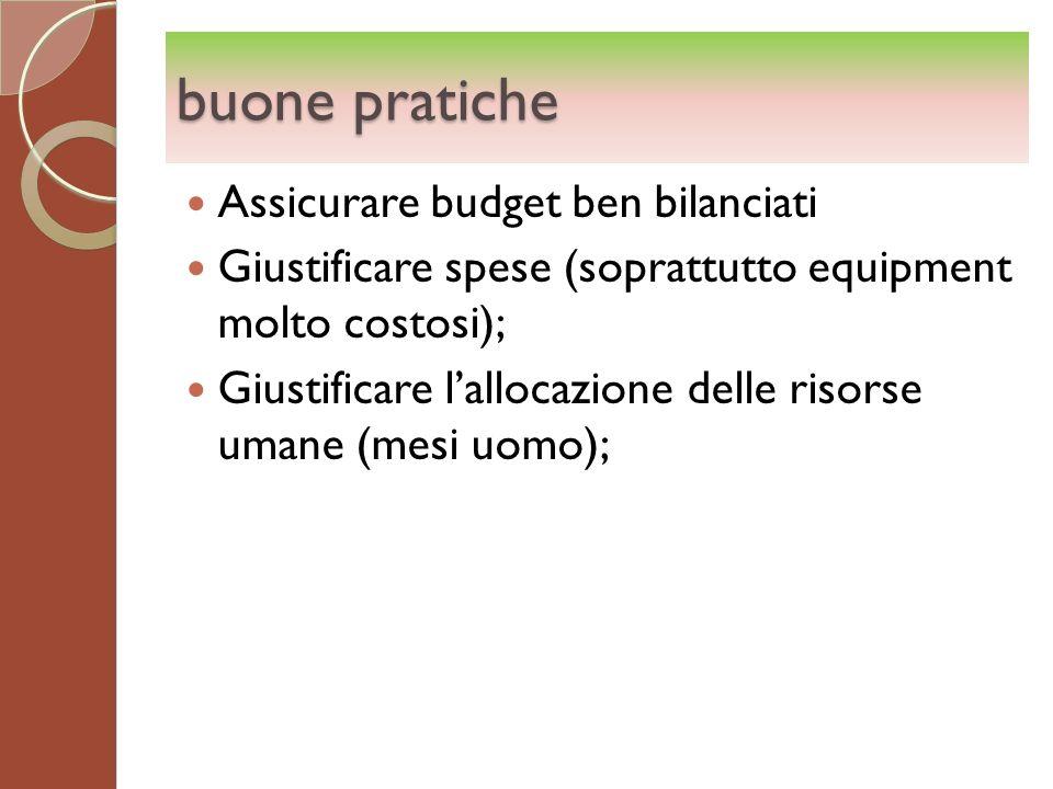 buone pratiche Assicurare budget ben bilanciati Giustificare spese (soprattutto equipment molto costosi); Giustificare lallocazione delle risorse uman