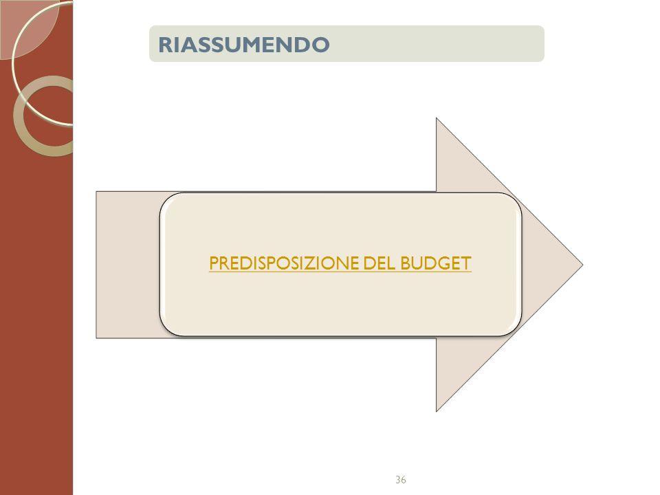36 PREDISPOSIZIONE DEL BUDGET RIASSUMENDO