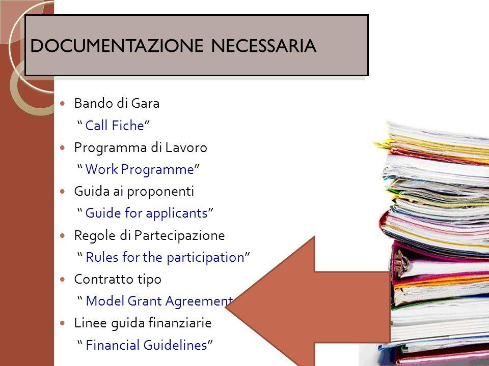 Bando di Gara Call Fiche Programma di Lavoro Work Programme Guida ai proponenti Guide for applicants Regole di Partecipazione Rules for the participat