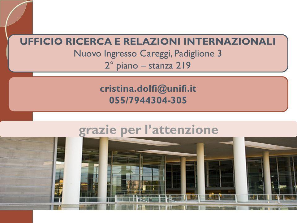 UFFICIO RICERCA E RELAZIONI INTERNAZIONALI Nuovo Ingresso Careggi, Padiglione 3 2° piano – stanza 219 cristina.dolfi@unifi.it 055/7944304-305 grazie p