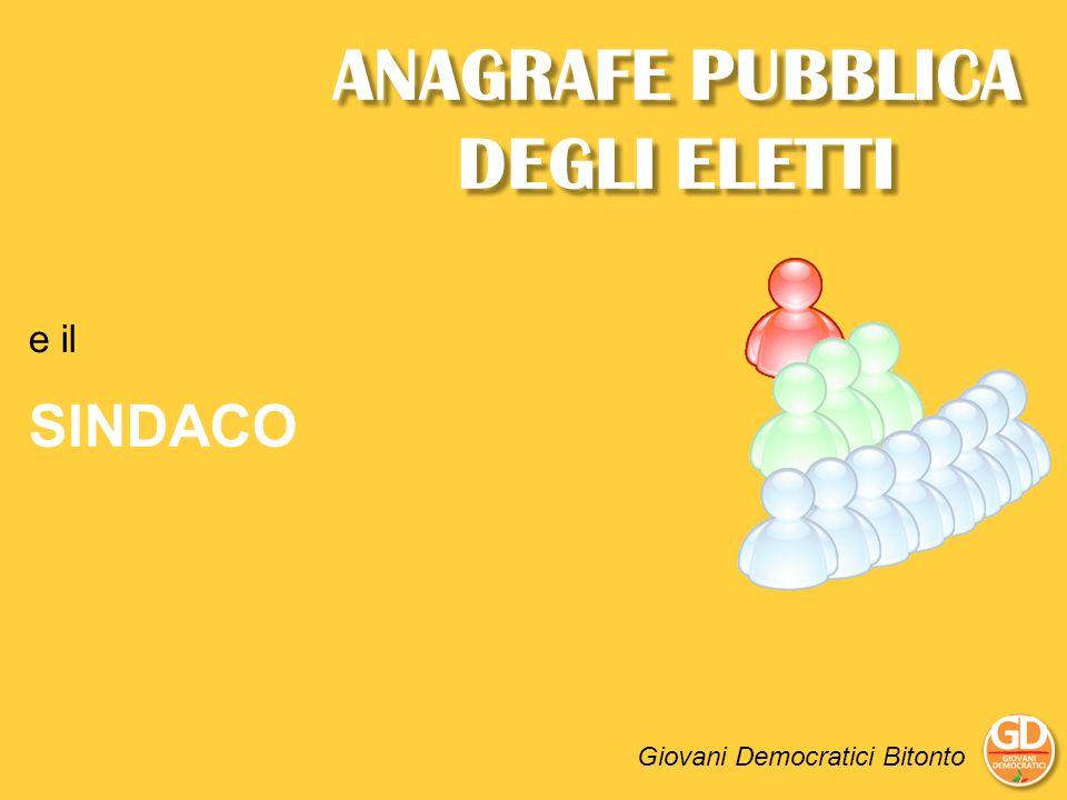 ANAGRAFE PUBBLICA DEGLI ELETTI Giovani Democratici Bitonto e il SINDACO