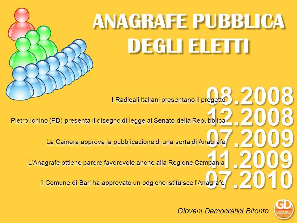 08.2008 I Radicali Italiani presentano il progetto 12.2008 Pietro Ichino (PD) presenta il disegno di legge al Senato della Repubblica 07.2009 La Camer