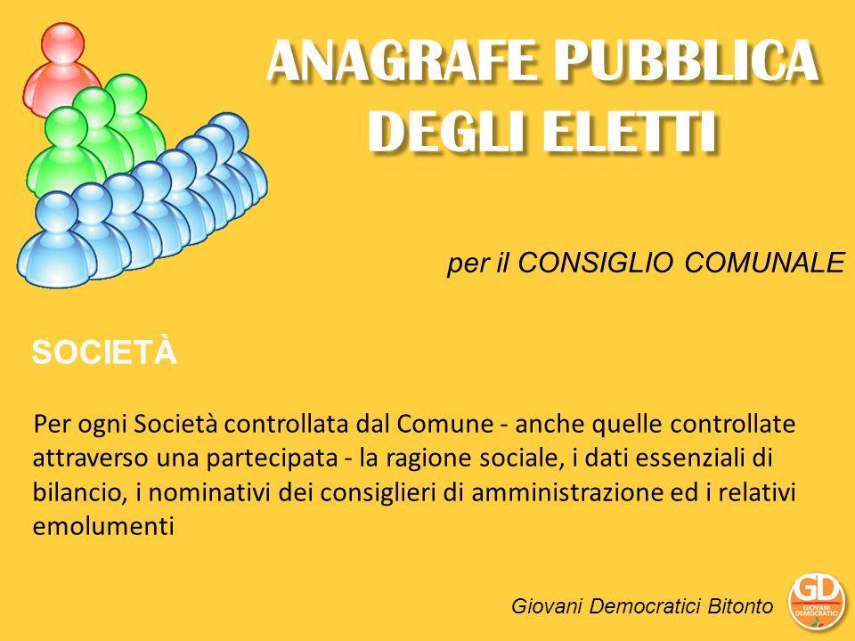 ANAGRAFE PUBBLICA DEGLI ELETTI Giovani Democratici Bitonto SOCIETÀ Per ogni Società controllata dal Comune - anche quelle controllate attraverso una p