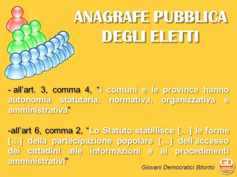 ANAGRAFE PUBBLICA DEGLI ELETTI - allart. 3, comma 4, i comuni e le province hanno autonomia statutaria, normativa, organizzativa e amministrativa -all