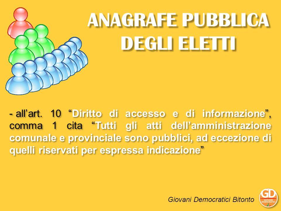 ANAGRAFE PUBBLICA DEGLI ELETTI - allart. 10 Diritto di accesso e di informazione, comma 1 cita Tutti gli atti dellamministrazione comunale e provincia