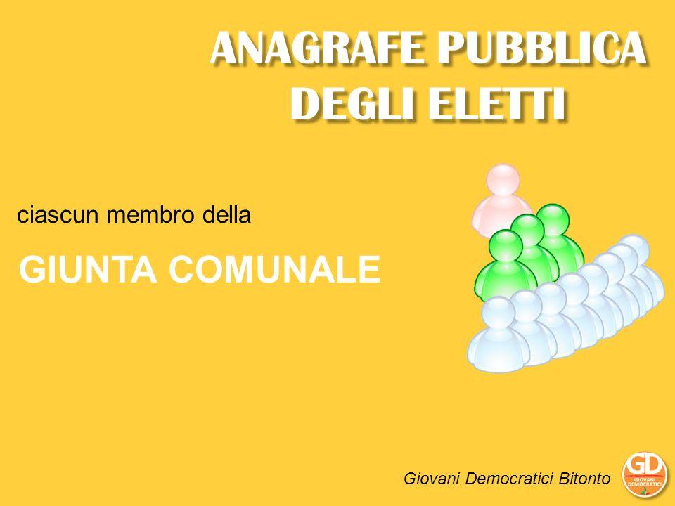 ANAGRAFE PUBBLICA DEGLI ELETTI Giovani Democratici Bitonto ciascun membro della GIUNTA COMUNALE