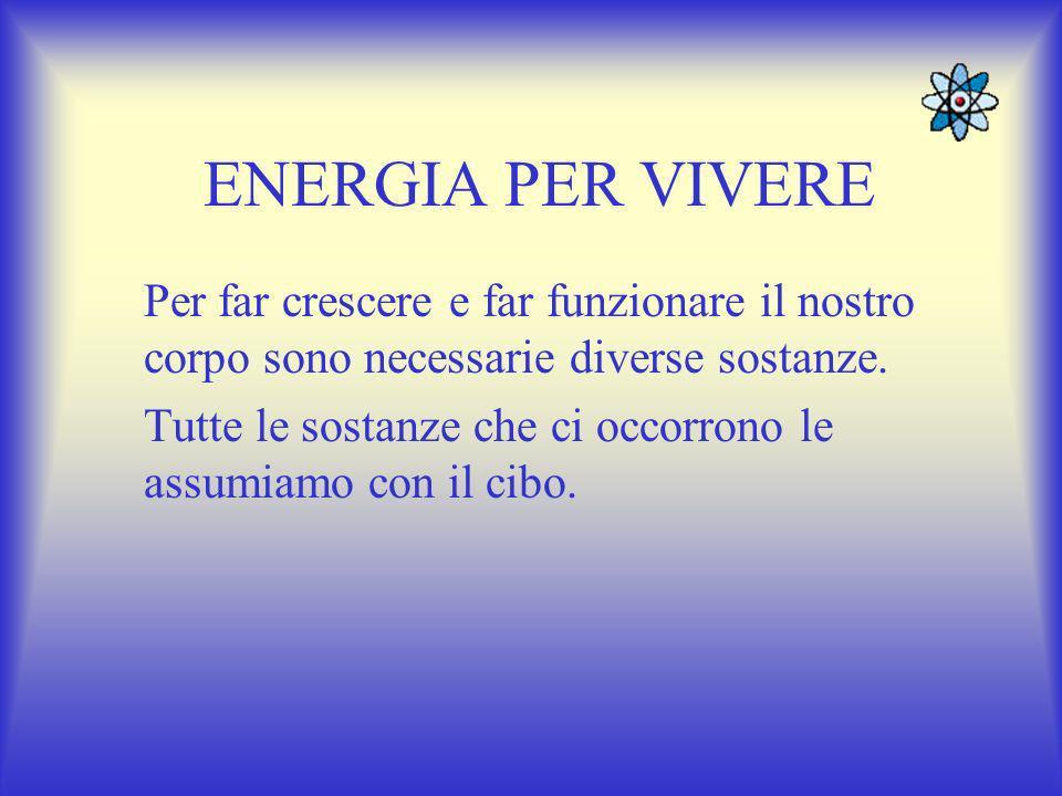 ENERGIA PER VIVERE Per far crescere e far funzionare il nostro corpo sono necessarie diverse sostanze.