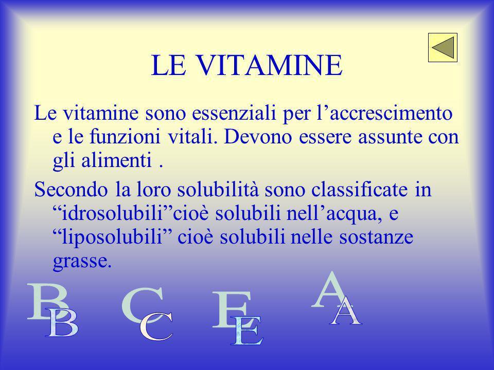 LE VITAMINE Le vitamine sono essenziali per laccrescimento e le funzioni vitali.