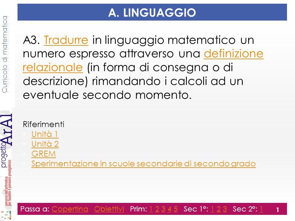 Principali obiettivi di apprendimento Esprimersi attraverso linguaggi diversi e tradurre da un linguaggio allaltro.