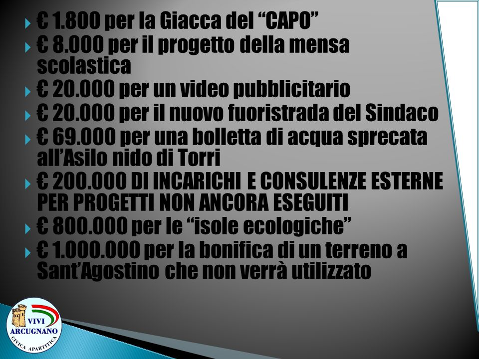 1.800 per la Giacca del CAPO 8.000 per il progetto della mensa scolastica 20.000 per un video pubblicitario 20.000 per il nuovo fuoristrada del Sindac
