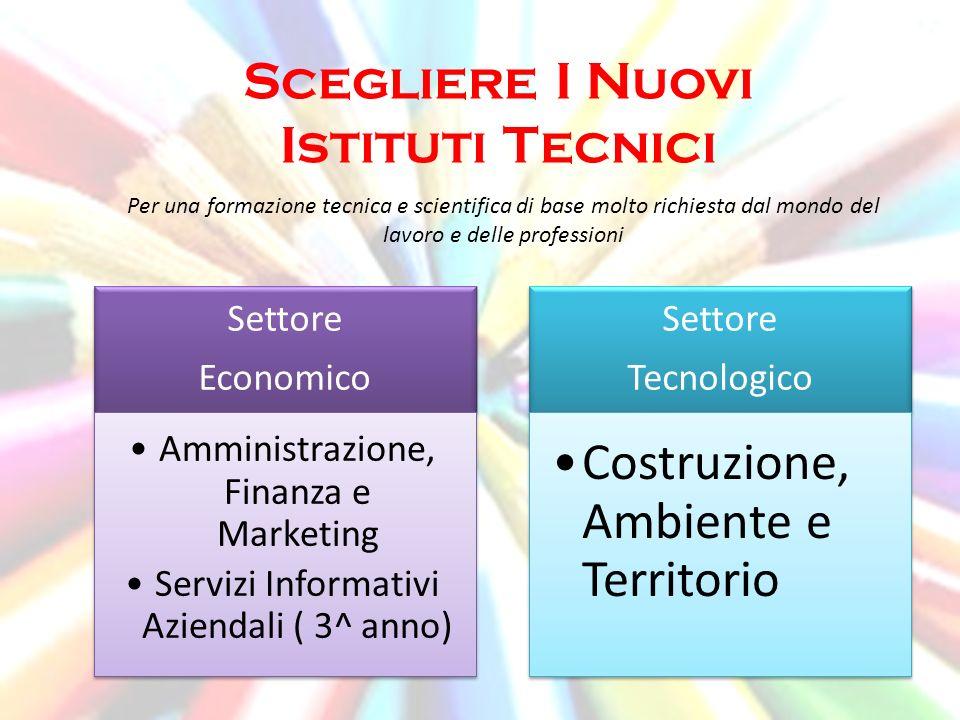 Scegliere I Nuovi Istituti Tecnici Per una formazione tecnica e scientifica di base molto richiesta dal mondo del lavoro e delle professioni Settore E