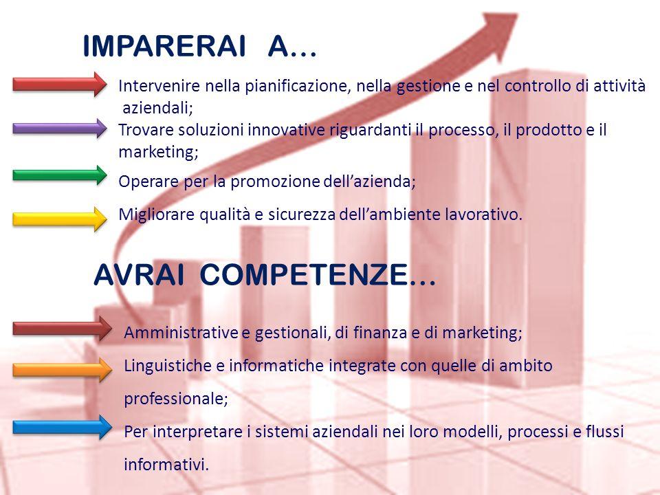 IMPARERAI A… Intervenire nella pianificazione, nella gestione e nel controllo di attività aziendali; Trovare soluzioni innovative riguardanti il proce