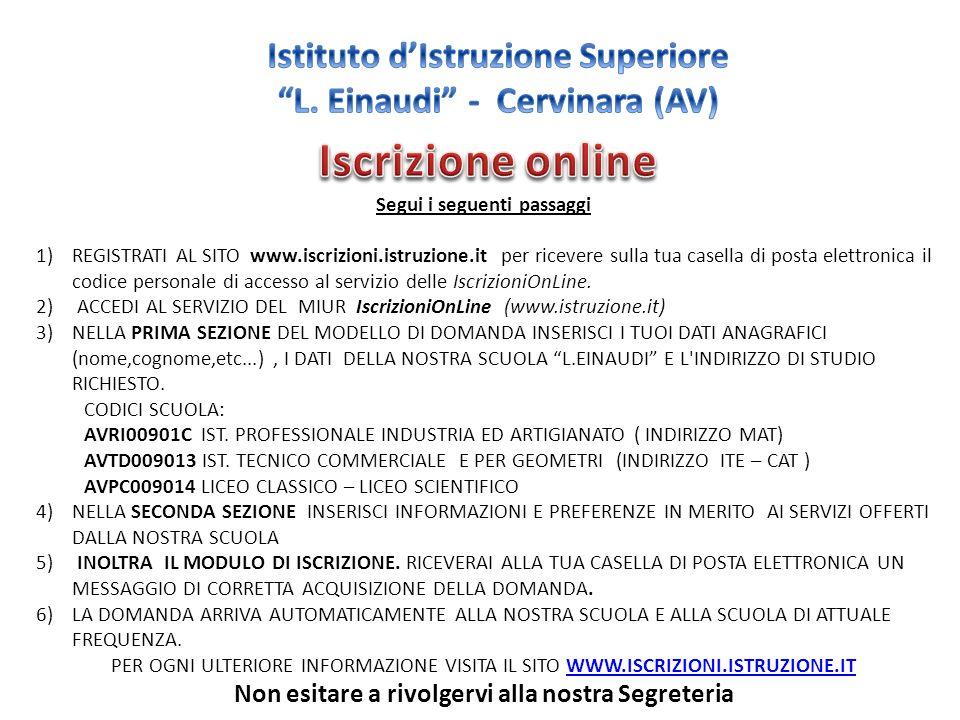 Segui i seguenti passaggi 1)REGISTRATI AL SITO www.iscrizioni.istruzione.it per ricevere sulla tua casella di posta elettronica il codice personale di