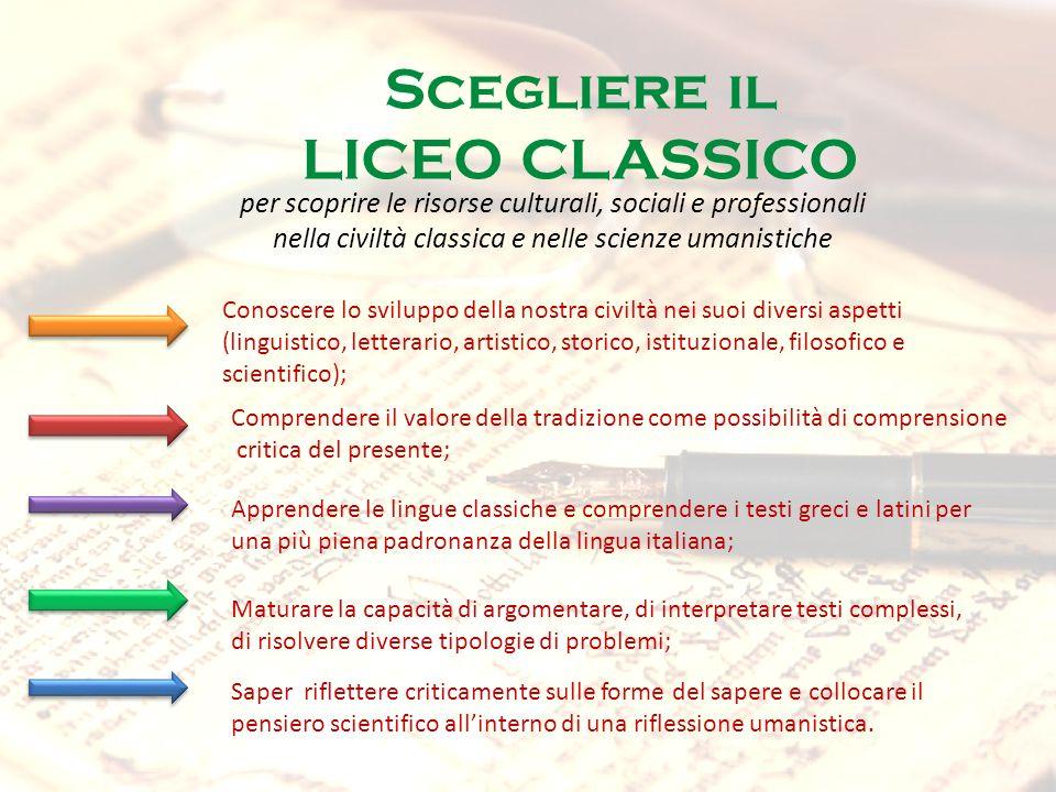 Scegliere il LICEO CLASSICO per scoprire le risorse culturali, sociali e professionali nella civiltà classica e nelle scienze umanistiche Conoscere lo