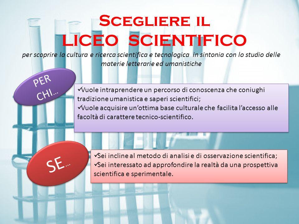 Scegliere il LICEO Scientifico Scegliere il LICEO SCIENTIFICO per scoprire la cultura e ricerca scientifica e tecnologica in sintonia con lo studio de