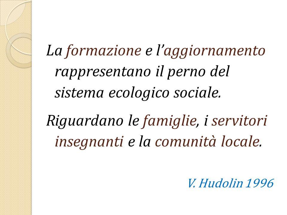 La formazione e laggiornamento rappresentano il perno del sistema ecologico sociale. Riguardano le famiglie, i servitori insegnanti e la comunità loca