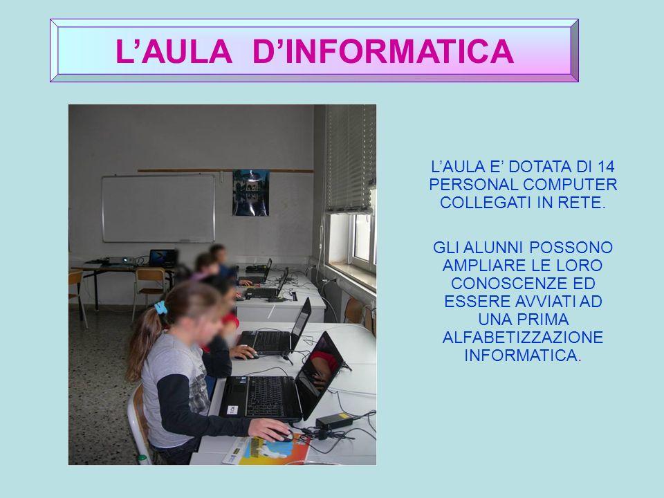 LAULA DINFORMATICA LAULA E DOTATA DI 14 PERSONAL COMPUTER COLLEGATI IN RETE.