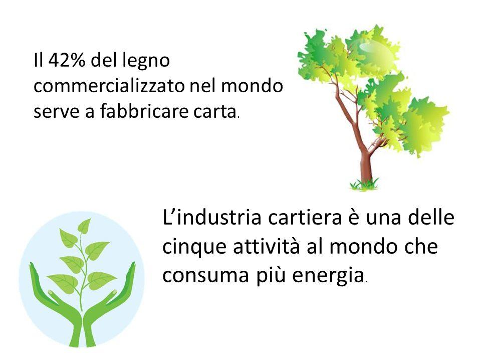 Il 42% del legno commercializzato nel mondo serve a fabbricare carta. Lindustria cartiera è una delle cinque attività al mondo che consuma più energia