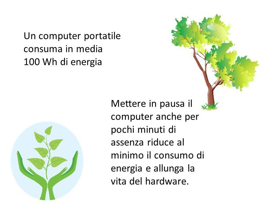 Un computer portatile consuma in media 100 Wh di energia Mettere in pausa il computer anche per pochi minuti di assenza riduce al minimo il consumo di