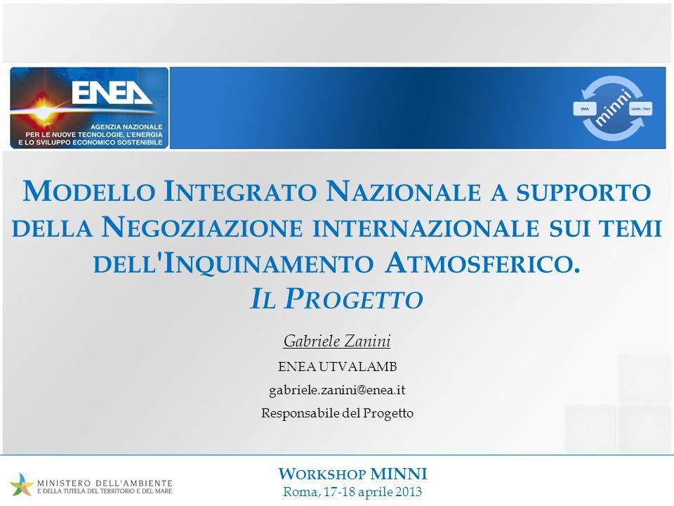 W ORKSHOP MINNI Roma, 17-18 aprile 2013 M ODELLO I NTEGRATO N AZIONALE A SUPPORTO DELLA N EGOZIAZIONE INTERNAZIONALE SUI TEMI DELL 'I NQUINAMENTO A TM
