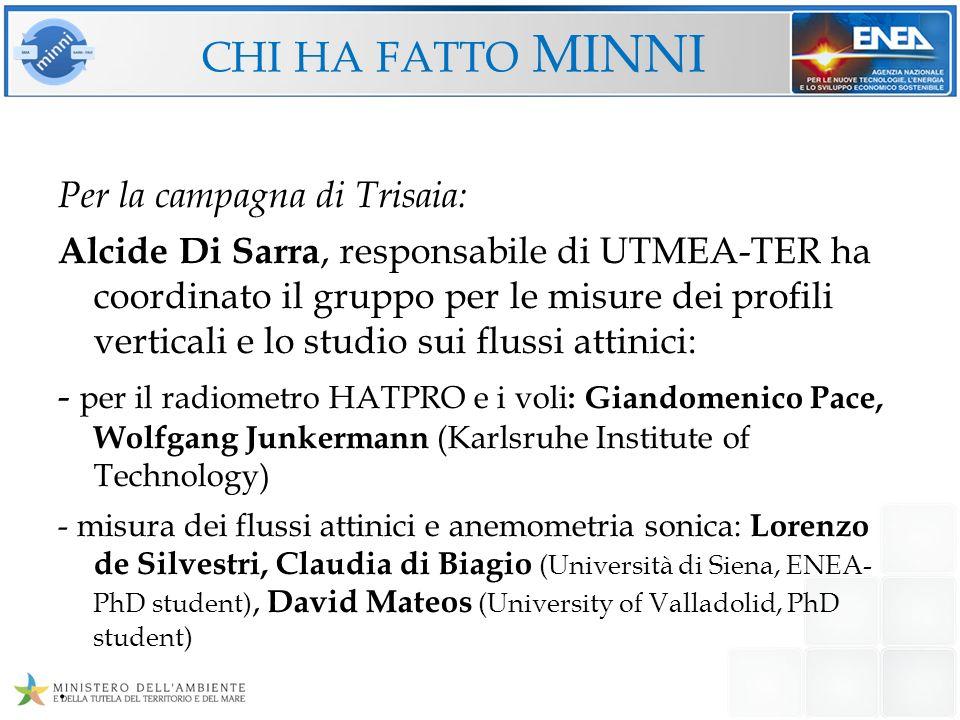 CHI HA FATTO MINNI Per la campagna di Trisaia: Alcide Di Sarra, responsabile di UTMEA-TER ha coordinato il gruppo per le misure dei profili verticali