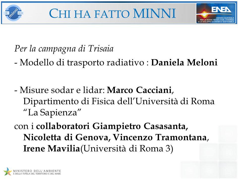 C HI HA FATTO MINNI Per la campagna di Trisaia - Modello di trasporto radiativo : Daniela Meloni - Misure sodar e lidar: Marco Cacciani, Dipartimento