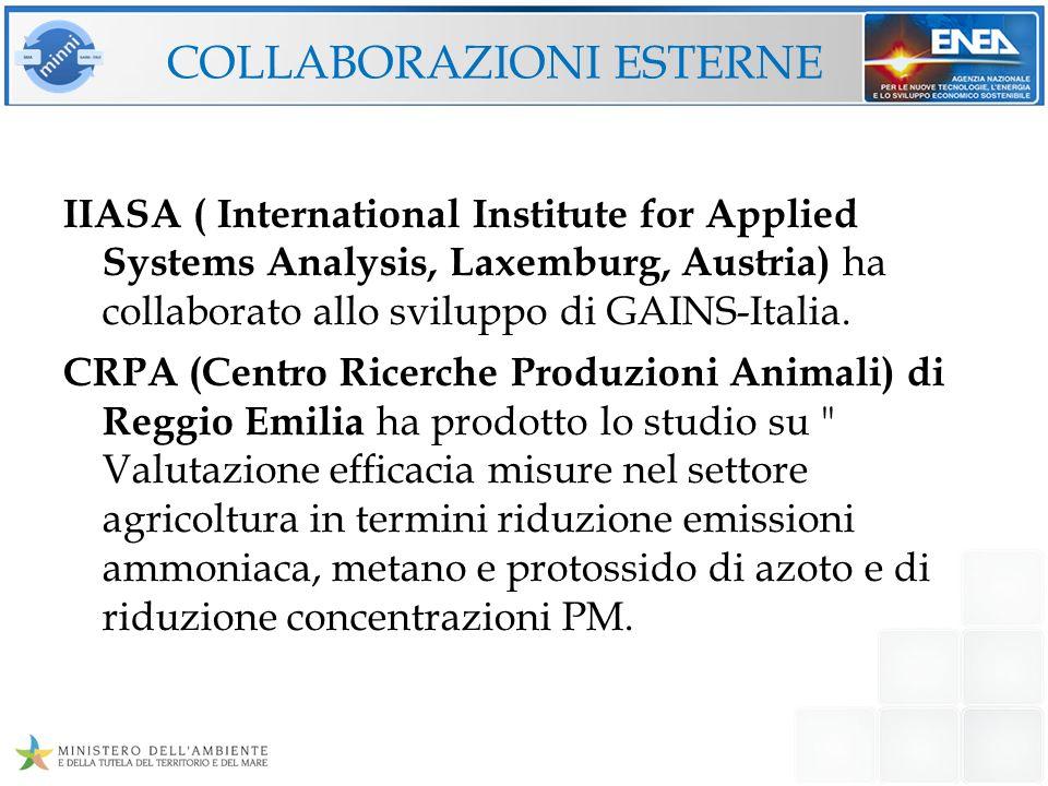 COLLABORAZIONI ESTERNE IIASA ( International Institute for Applied Systems Analysis, Laxemburg, Austria) ha collaborato allo sviluppo di GAINS-Italia.