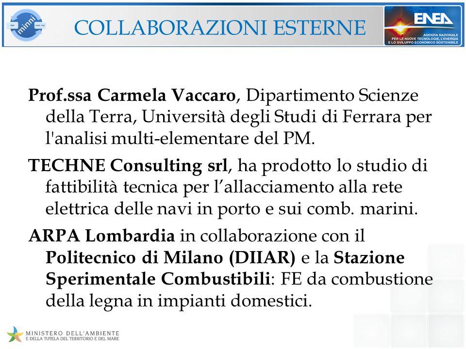 COLLABORAZIONI ESTERNE Prof.ssa Carmela Vaccaro, Dipartimento Scienze della Terra, Università degli Studi di Ferrara per l'analisi multi-elementare de
