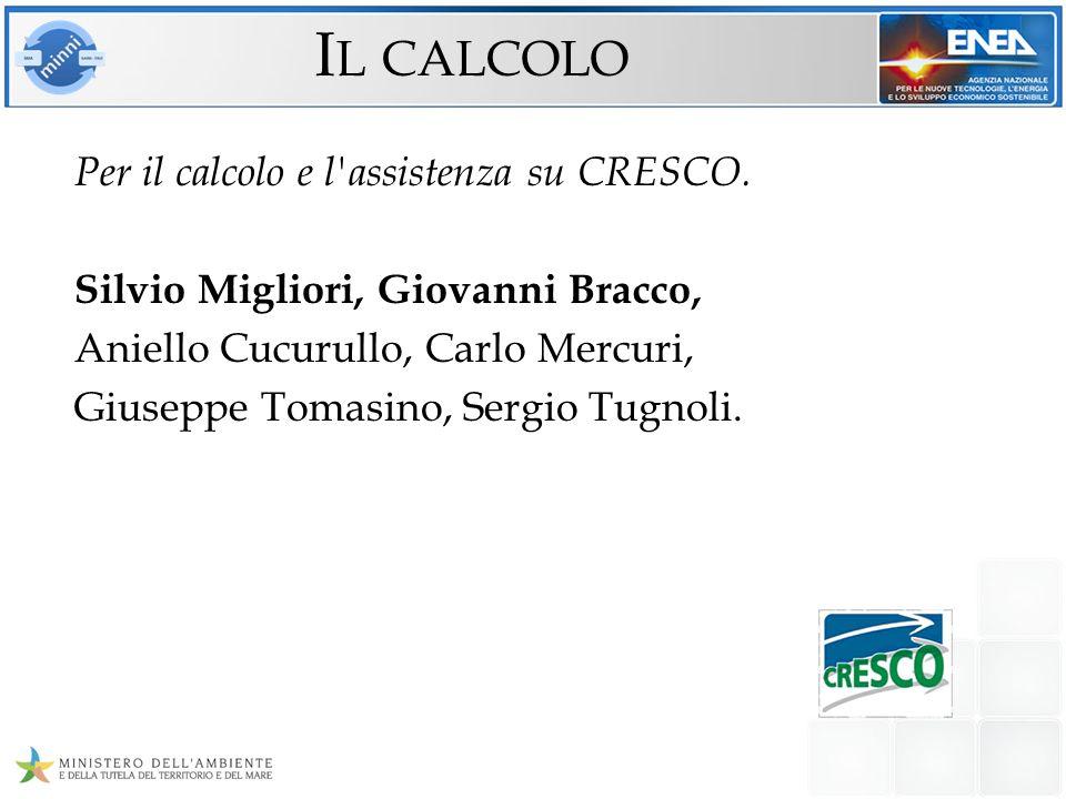 Per il calcolo e l'assistenza su CRESCO. Silvio Migliori, Giovanni Bracco, Aniello Cucurullo, Carlo Mercuri, Giuseppe Tomasino, Sergio Tugnoli. I L CA